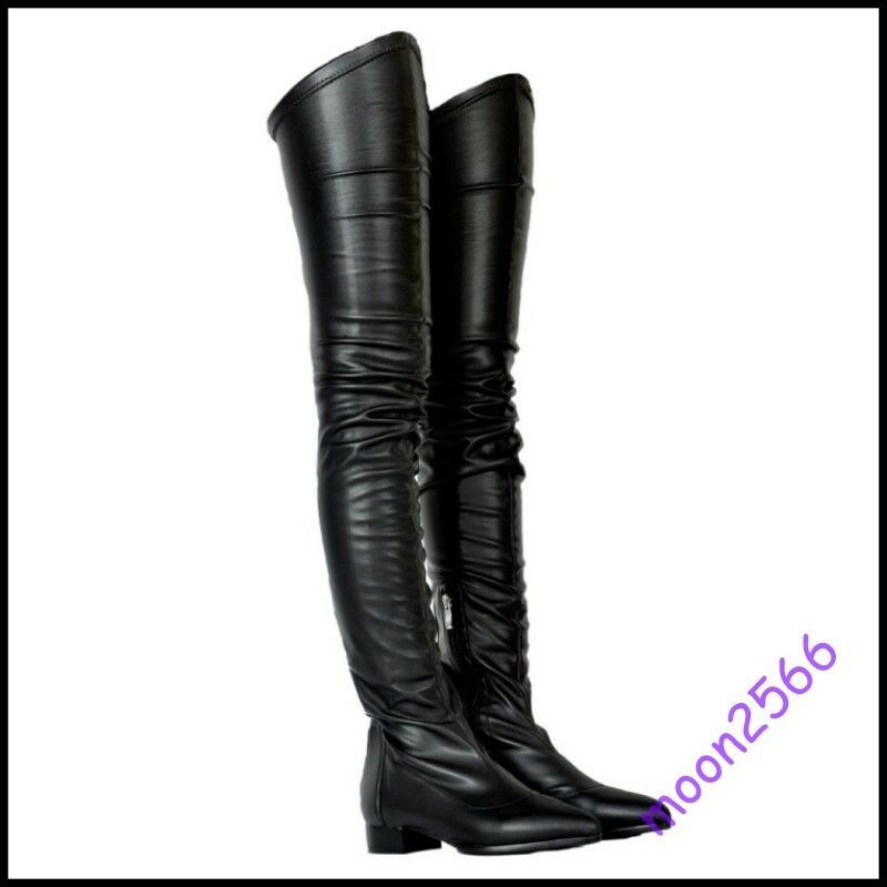 Women Black Leather Thigh High Boots Europe Fashion Punk Motor Boots US4-12.5