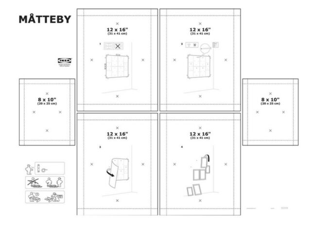 New Ikea Matteby Wall Hanging Templates Set Of 4 Picture Photo Frame Collage