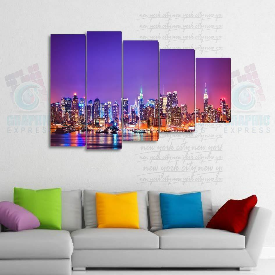 150x100cm- Kit 5 TOILES IMPRIMEE TABLEAU TOILE DECO - NEW YORK-NY-02 -5T06A