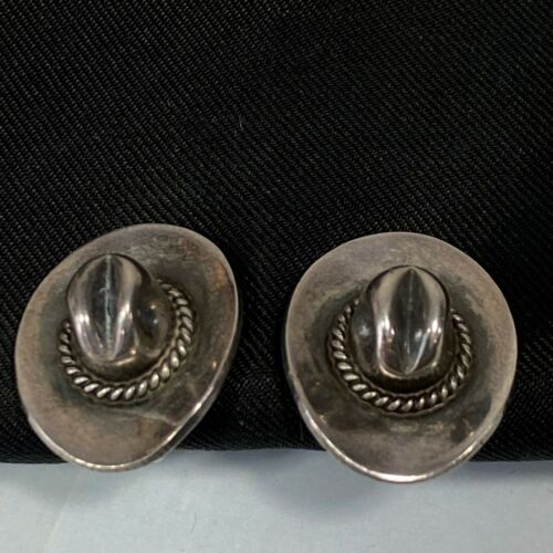 Vintage Mexican Sterling Sliver Cowboy Hat Earring