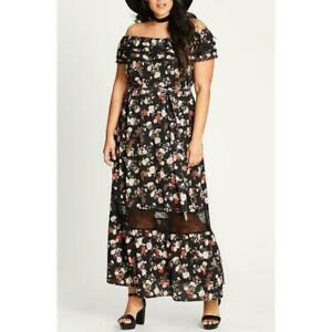 City-Chic-Womens-18W-Free-Love-Floral-Off-the-Shoulder-Maxi-Dress-Ruffles-NEW