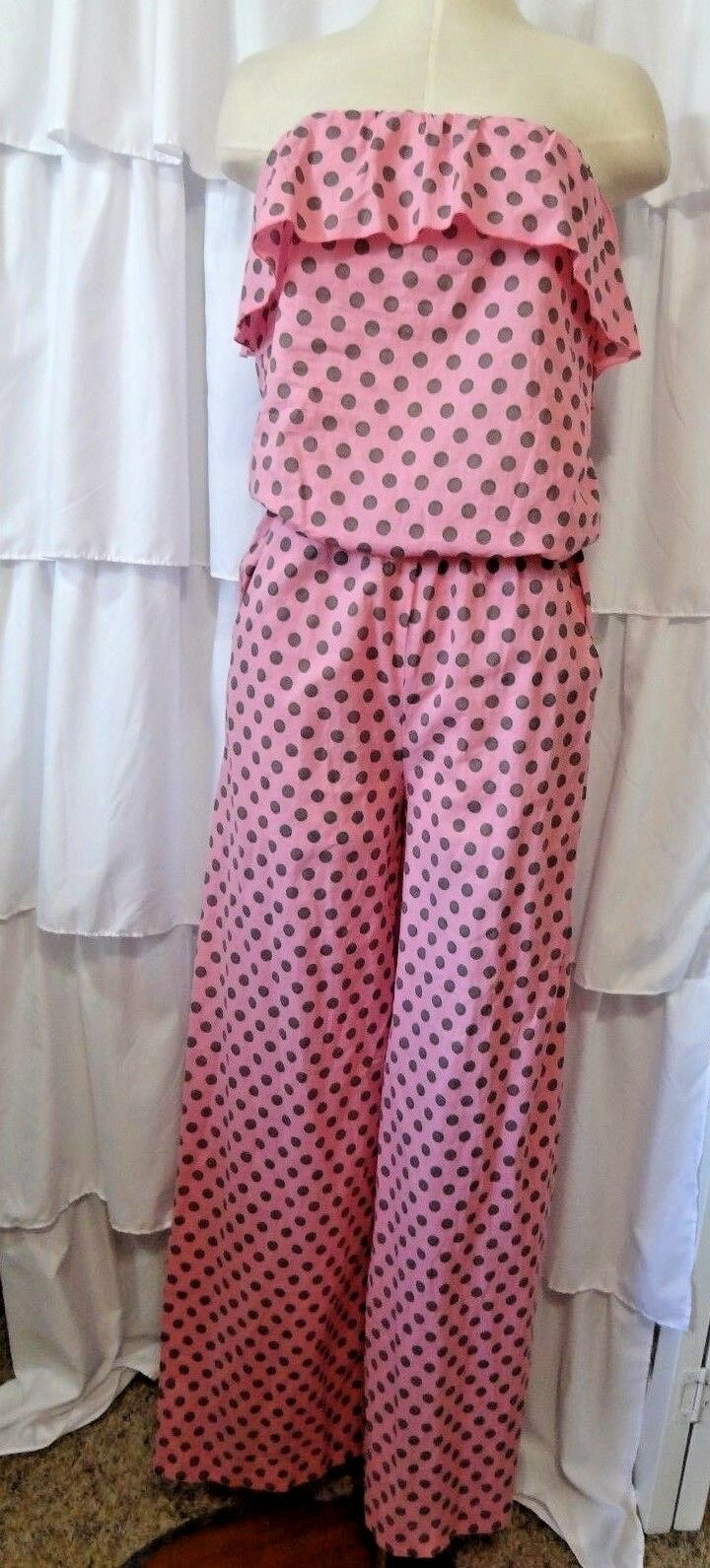 P.S. Fashion Romper pink womens S polka dot off shoulder