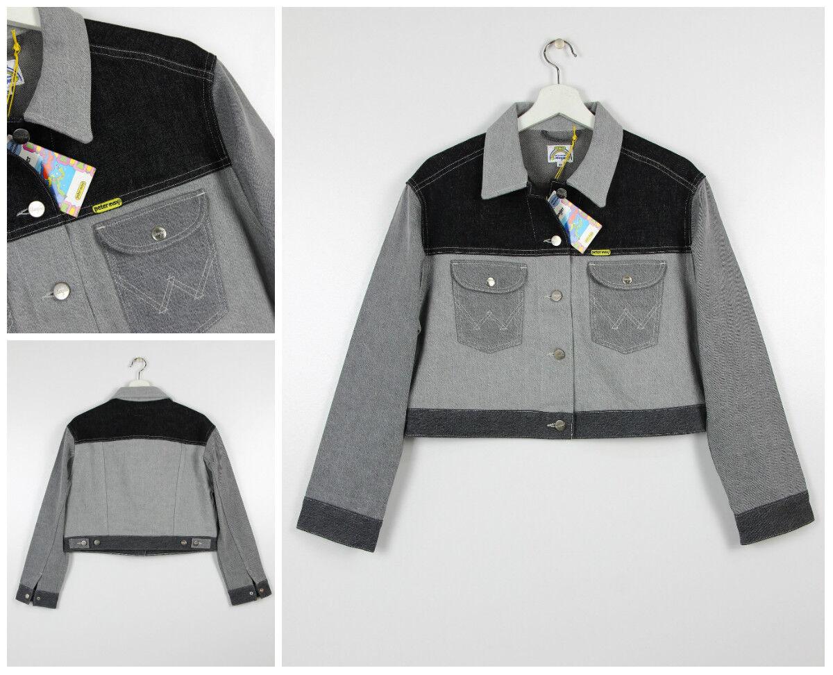 Nuovo Wrangler di Peter Max Giacca di Jeans grey black Retrò Pop Art XS S M L