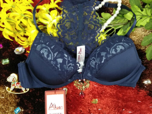 front open navy blue underwired padded bra 36D 34D