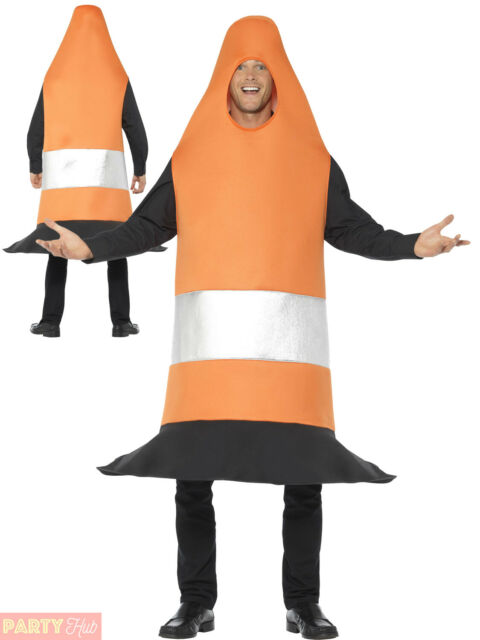Adults Traffic Cone Costume Mens Ladies Novelty Fancy Dress Stag Party Outfit