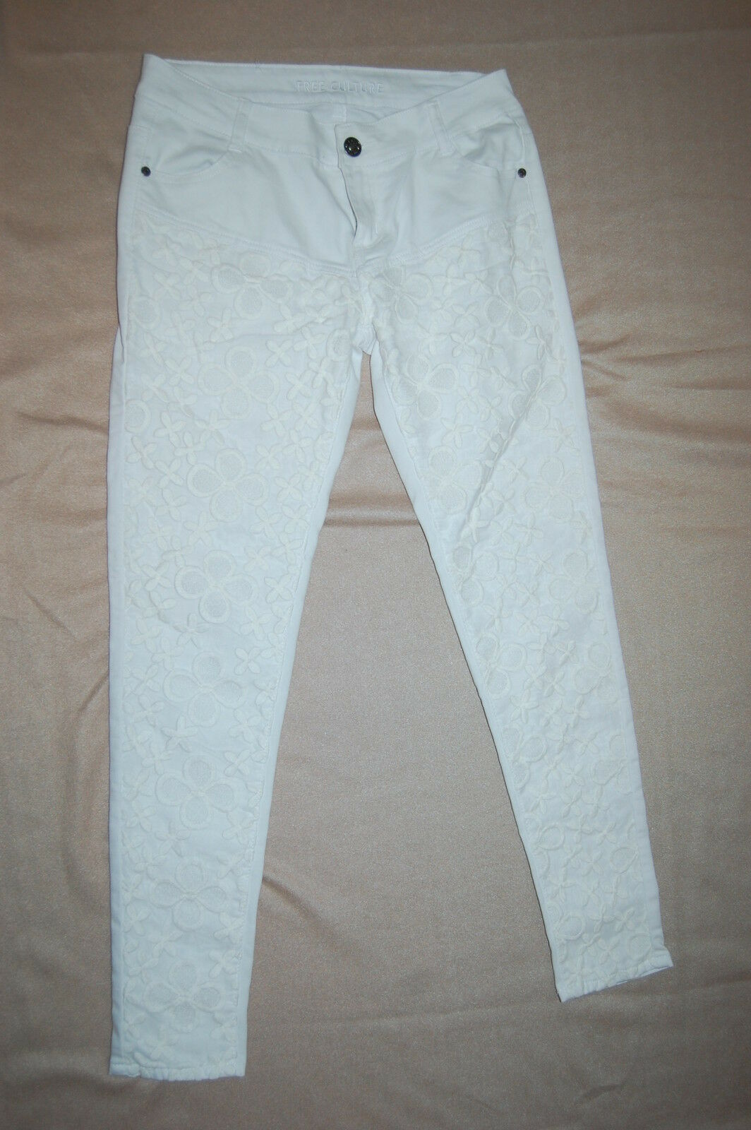 JR Womens Pants WHITE SKINNY JEANS Lace Overlay Legs FREE CULTURE Denim SIZE 9
