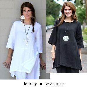 BRYN-WALKER-Light-Linen-Long-BRE-TUNIC-Artist-Apron-Top-XS-S-M-L-XL-WHITE-BLACK