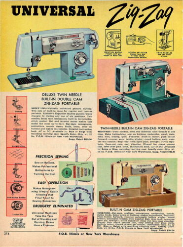 Details about  /1967 ADVERT 2 PG Universal Sewing Machine Twin Needle Zig Zag Double Cam