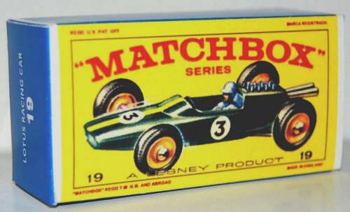Matchbox Lesney  No 19  LOTUS MK 33 RACING CAR Empty Repro  Box style E