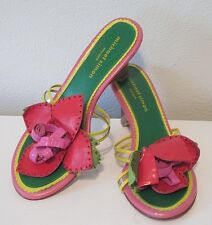 Michael Simon Bright Pink Green Rose Beaded Floral Slip On Wedges Heels Shoes 6