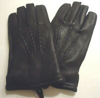 Men's Deerskin Genuine Leather Gloves, M, Black