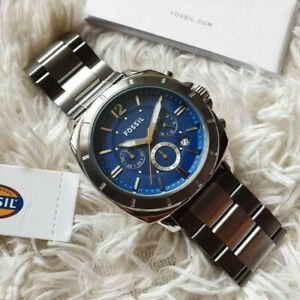 Fossil-Privateer-Silver-tone-Blue-Dial-Chronograph-Watch-BQ2464