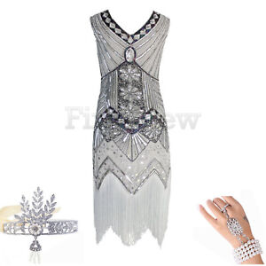 f161dca3cb781 1920s Flapper Dress Great Gatsby Art Deco Sequins Cocktail Party V ...