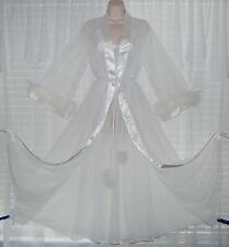 Vtg INTIME 4 Layer Sheer Chiffon Peignoir Robe Nightgown Negligee MARABOU M
