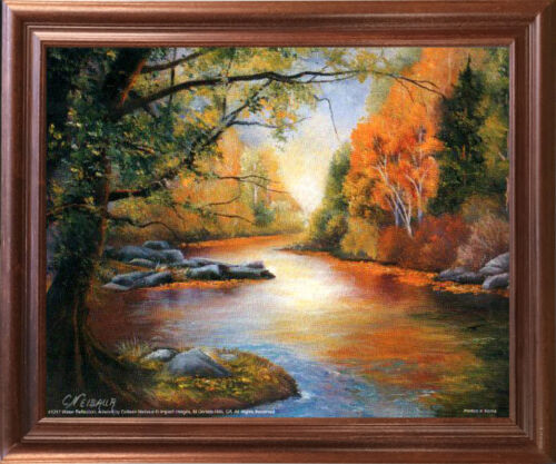 Water Reflection Creek Scenery Nature Mahogany Framed Wall Decor Picture 18x22