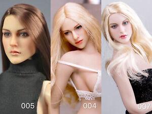 KIMI-TOYS-1-6th-Long-Curls-Straight-Hair-Head-Carving-Sculpt-Model-KT004-005-010