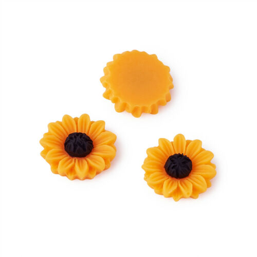 50x Flatback Resin Sunflower Cabochons DarkOrange Craft Decoration Making 15x5mm