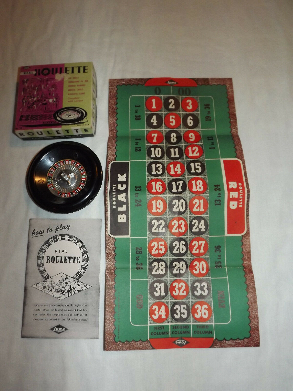 VINTAGE TOY 1950-60S ES LOWE REAL ROULETTE GAME IN BOX