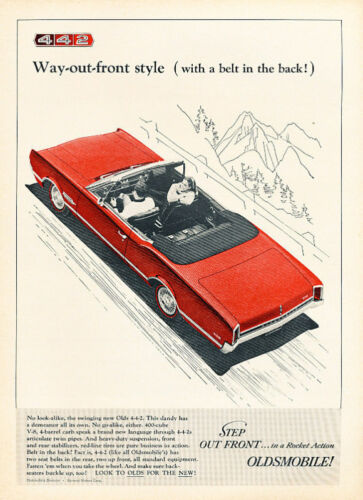 1966 Oldsmobile 442 red cv Classic Advertisement Ad A1B