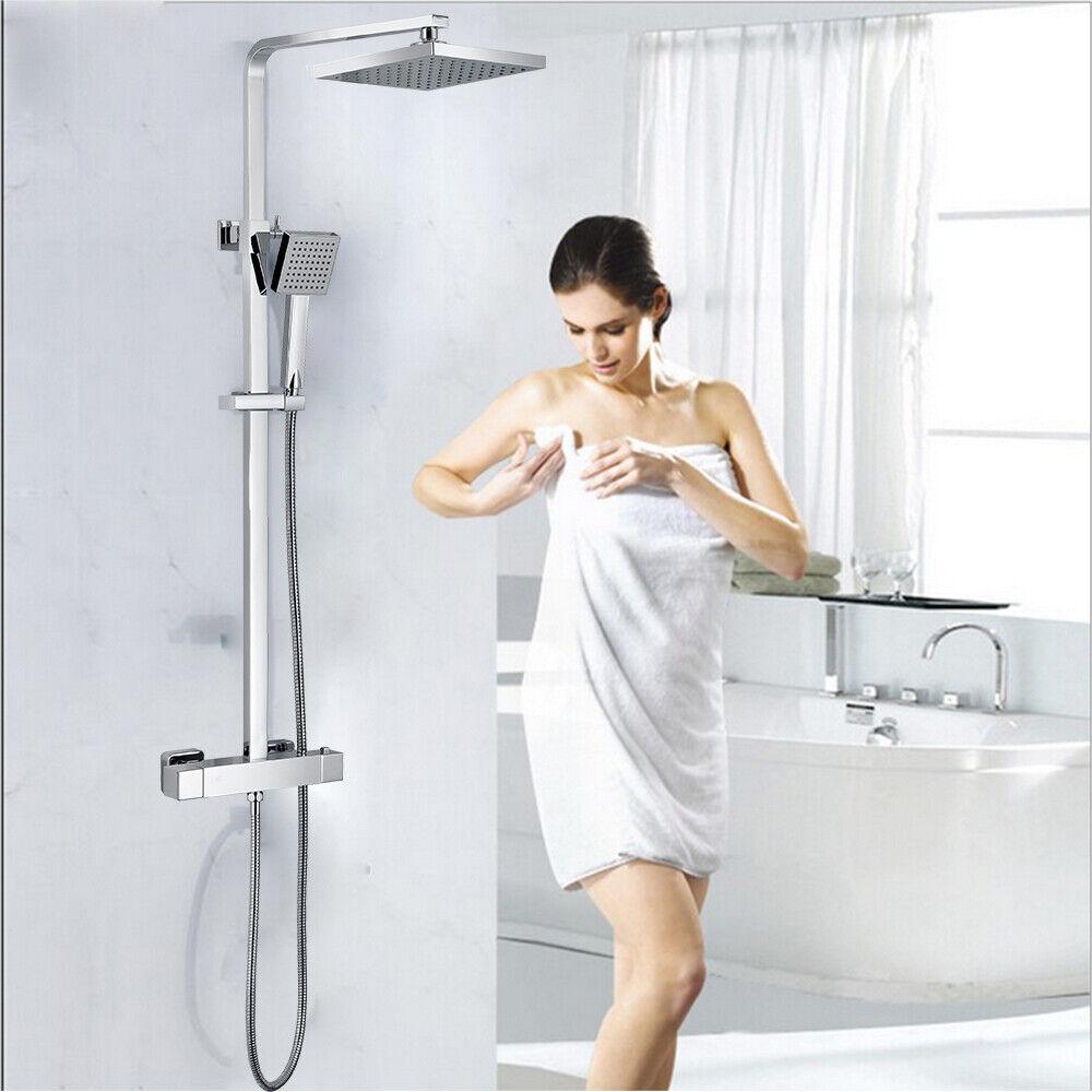8'' Grifo Mezclador ducha termostático Baño con cabeza ducha Cuadrado tarjeta