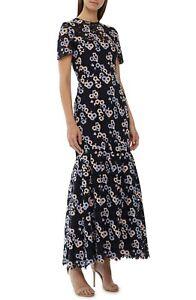 Details About Ml Monique Lhuillier Multicolor Embroidered Lace Maxi Dress Size 14