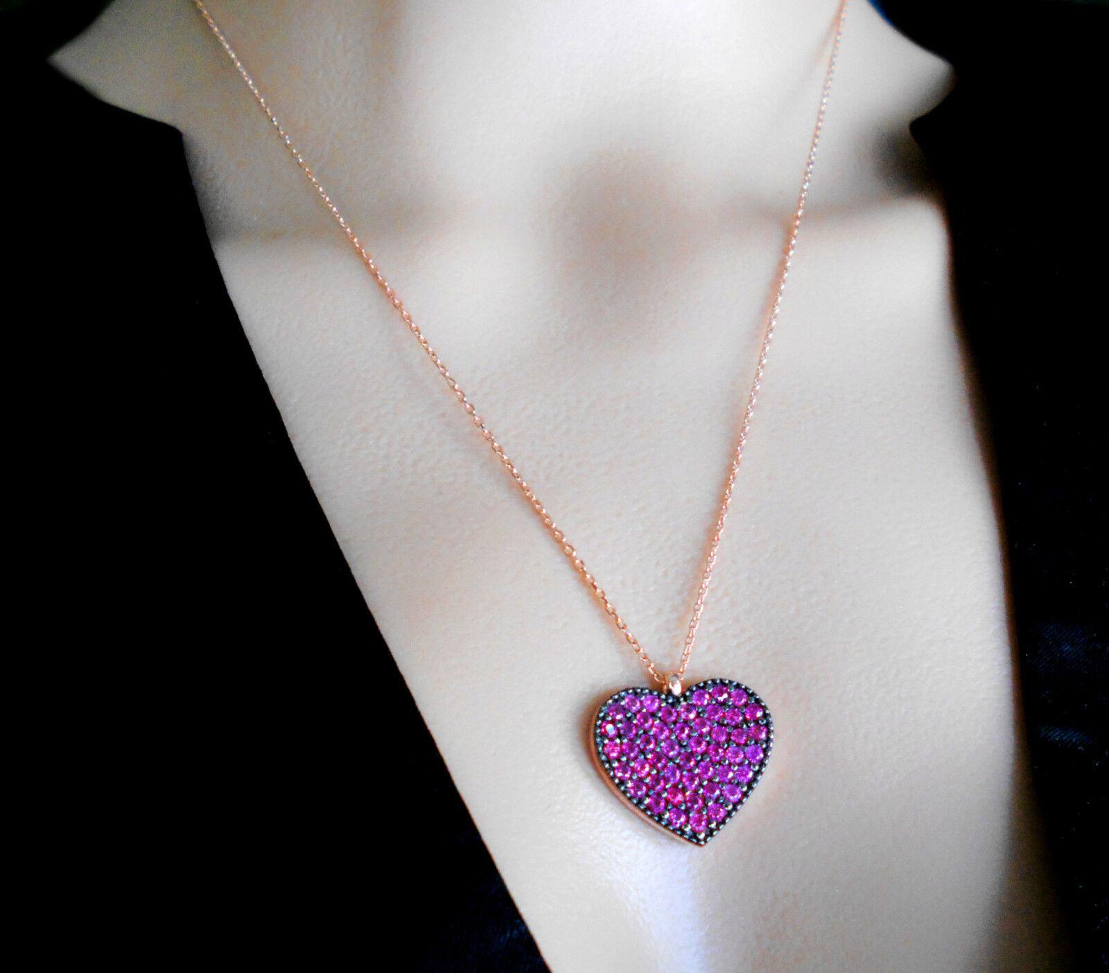 Cuore Cuore Cuore Collier STERLING argentoO Roséveroroet rosa pietre circa 52 lungo kur16 b25649