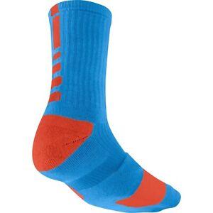 NWT Mens Blue /& White Nike Elite Basketball Crew Socks Size 8 //12