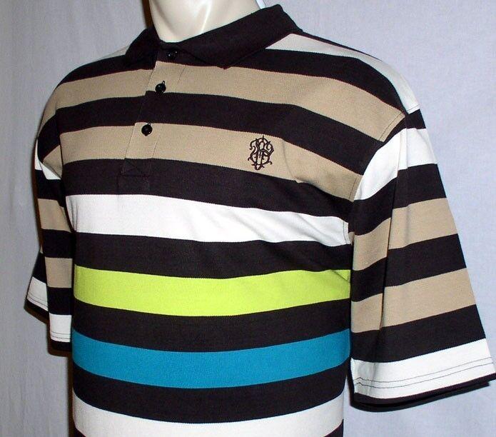 NEW 4XL SOUTHPOLE MENS POLO SHIRT Brown Stripe 4X 4XB