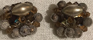 Vintage Brown, Olive Green Beaded With Textured Bead Accents Clip Earrings
