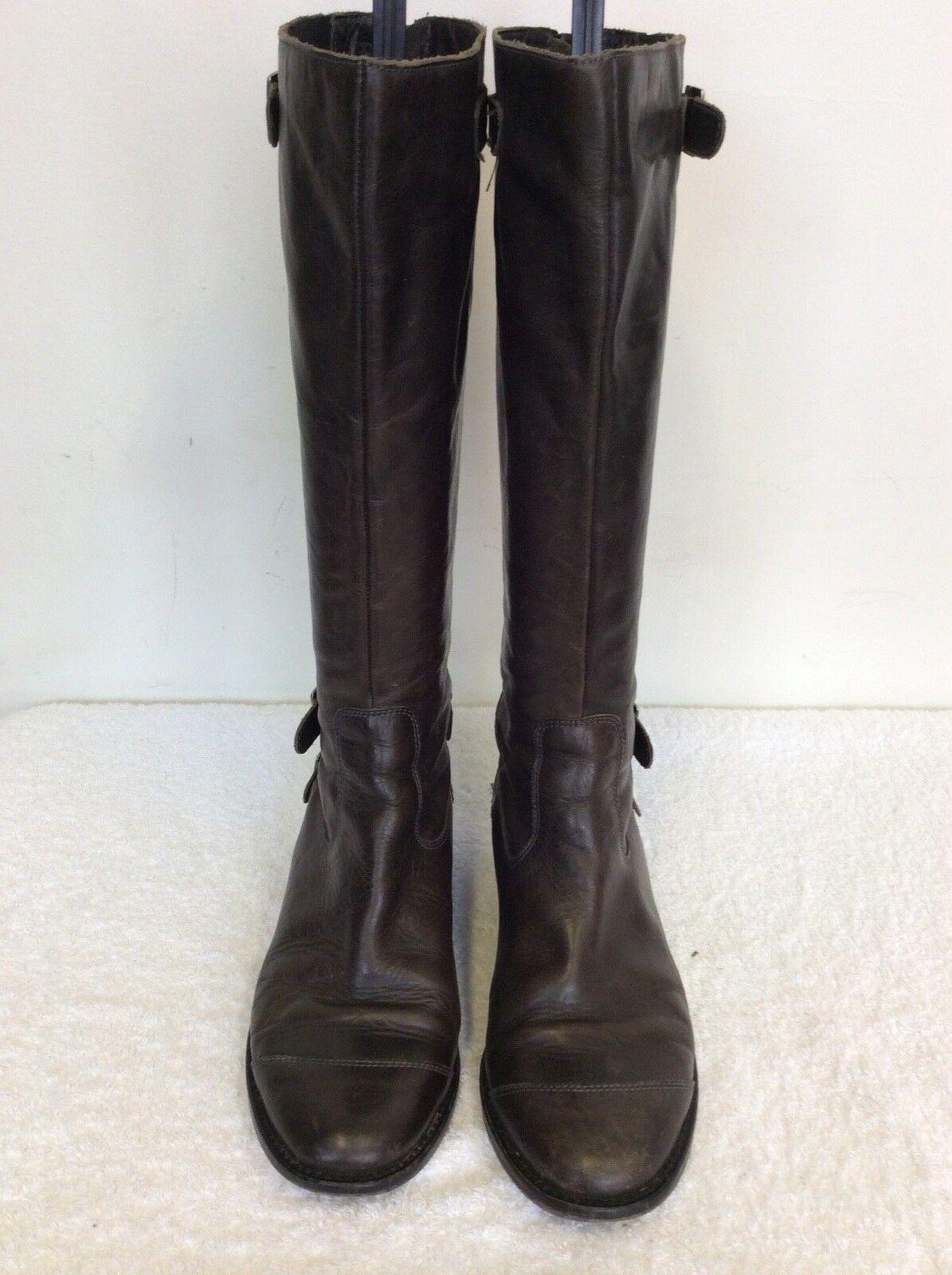 Hebilla de ajuste de cuero marrón oscuro Jigsaw largo hasta la rodilla botas /38