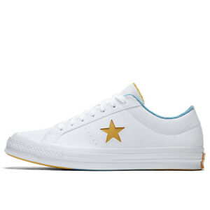3e6dc9d898c4 CONVERSE Mens Grand Slam One Star OX White Yellow Leather Trainers ...
