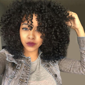 Hot Afro Medium Short Curly Wigs Black Women Girl Kinky Curly Hair