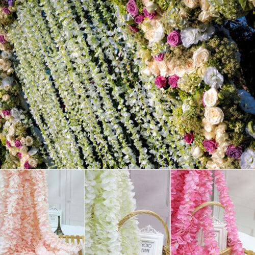 10pcs Hydrangea Artifical Flower Vine Hanging Garland Background Wedding Home