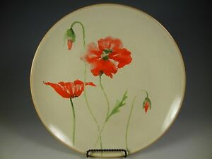222 FIFTH PTS International AMAPOLA Red Poppy Floral Dinner Plates ...