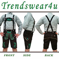 German Bavarian Trachten Oktoberfest Mens Outfit Short Length Black Lederhosen