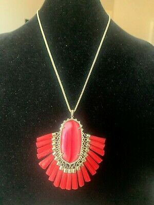 NWT Kendra Scott Betsy Long Pendant Necklace in Red Mother of Pearl