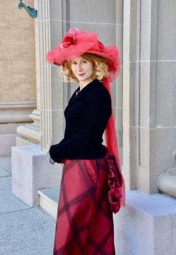 Wine Red  Steampunk Victorian Long Maxi Skirt Sz 1