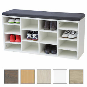 schuhschrank vincent mit sitzkissen 104cm weiss kommode schuhregal sitzbank ebay. Black Bedroom Furniture Sets. Home Design Ideas