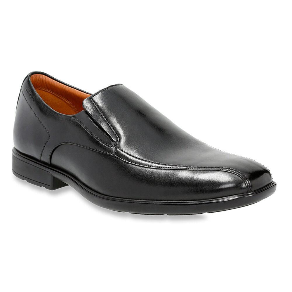 eb24f536943 Clarks Hombre Negro 09699 Gosworth Step Slip On Dress zapatos Cuero ...