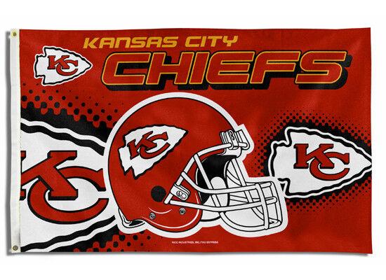 KANSAS CITY CHIEFS FLAG 3'X5' NFL HELMET BANNER: FREE SHIPPING
