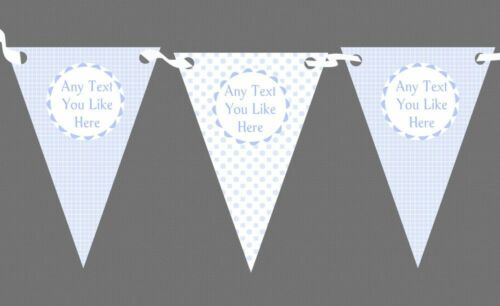 Baby Boy Blue Check Spots Personalised Children/'s Birthday Party Bunting