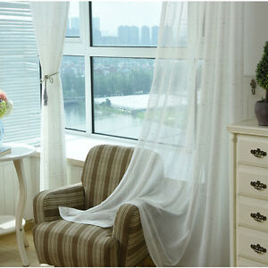 Details about Woven Sheer Curtains White Tulle Elegant Fabrics Modern  Valance for Living Room