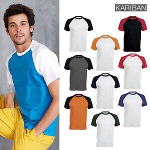 Kariban-Baseball-Contrast-Men-039-s-T-Shirt-K330-Adult-Sports-Crew-Neck-Tee