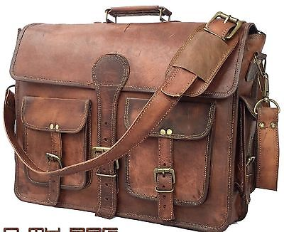"18/"" Vintage Briefcase Satchel Soft Leather Laptop Messenger Bag Shoulder Men New"