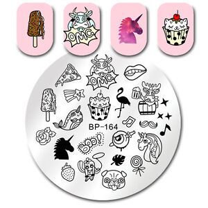 flamingo nail art stamping plate ice cream manicure image stamp
