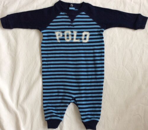 New Baby Boys Ralph Lauren Long Sleeves Graphic Coverall Body Suit//Romper 9 Mths