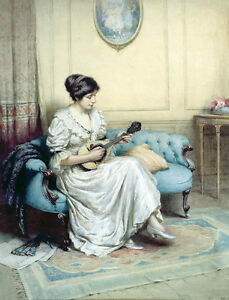 Oil-painting-beauiful-young-woman-playing-guitar-on-sofa-in-sitting-Hand-painted