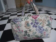 lvory Cream x Pink purple floral Make up Bag, tool Bag