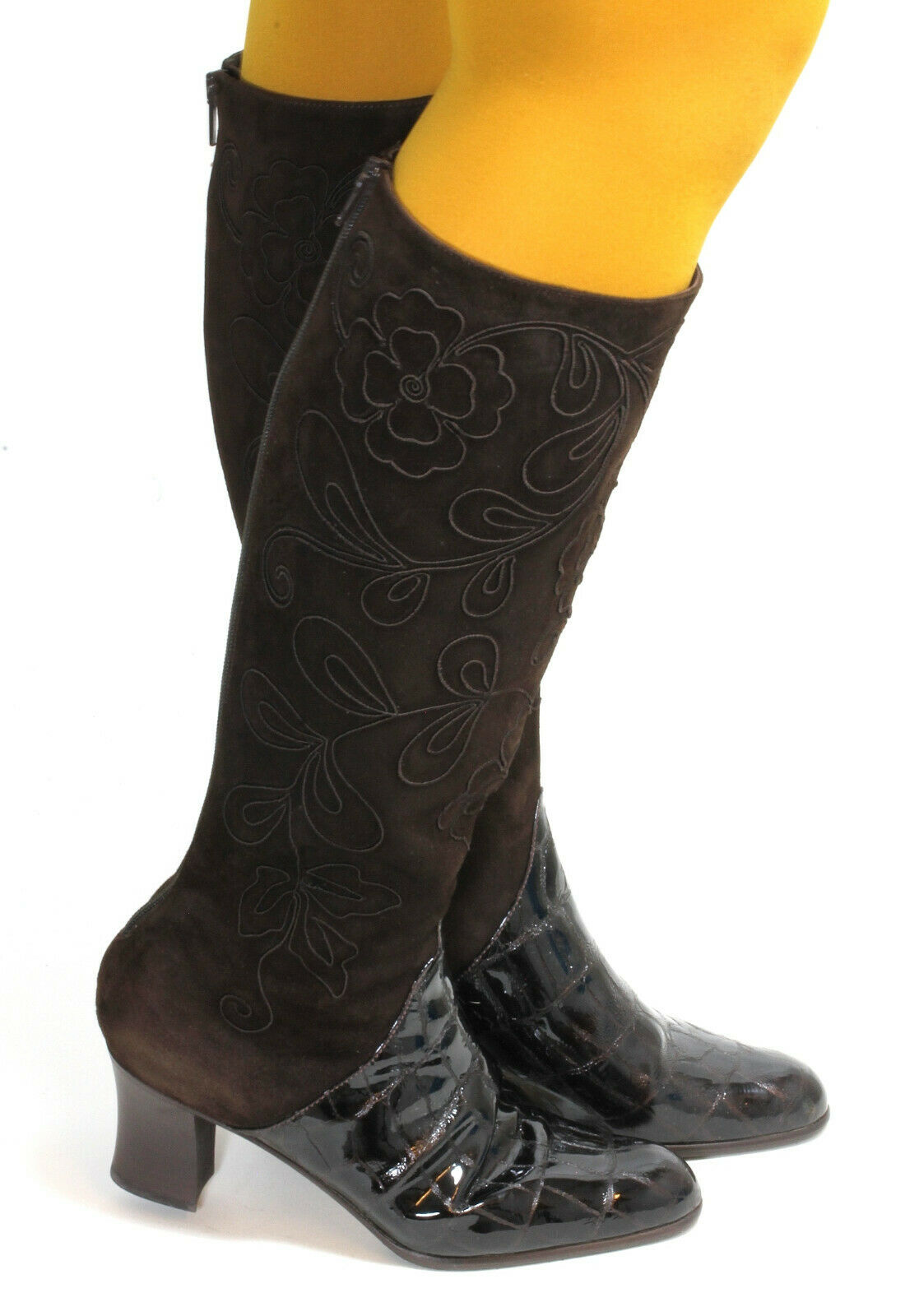 Damenstiefel Vintage Stiefel Leder Lack Blaumen Heels Zipper Stiefel Brunella 39