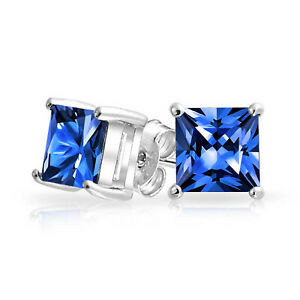 1CT-Red-Square-Princess-Cut-CZ-Stud-Earrings-Sterling-Silver-Simulated-Sapphire